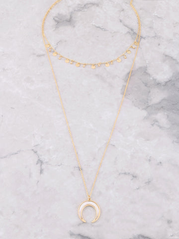 Pearl Horn Layered Necklace Anarchy Street Gold