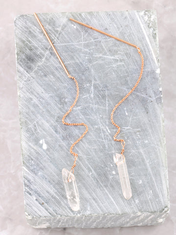 Stone Threader Earrings Anarchy Street Rosegold