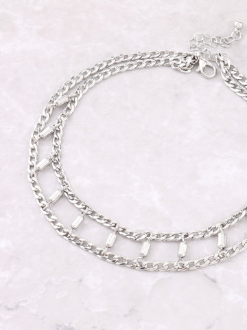 Barrel Curb Chain Choker Anarchy Street Silver