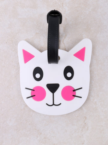 Face Cat Luggage Tag Anarchy Street White