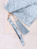 Velvet Clutch Bag Anarchy Street Blue - 2 Details