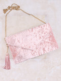 Velvet Clutch Bag Anarchy Street Pink