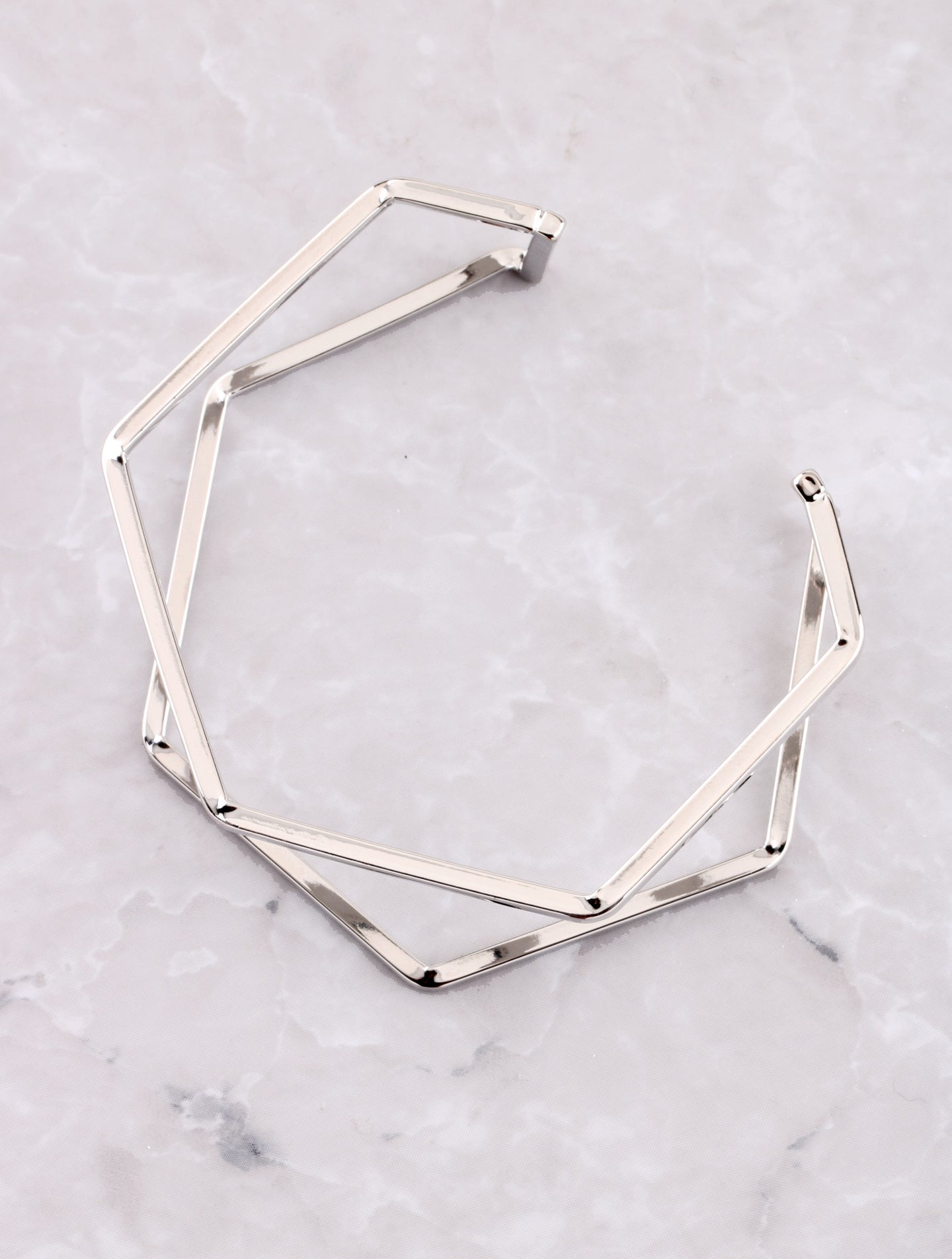 Hexagon Cuff Bracelet Anarchy Street Silver