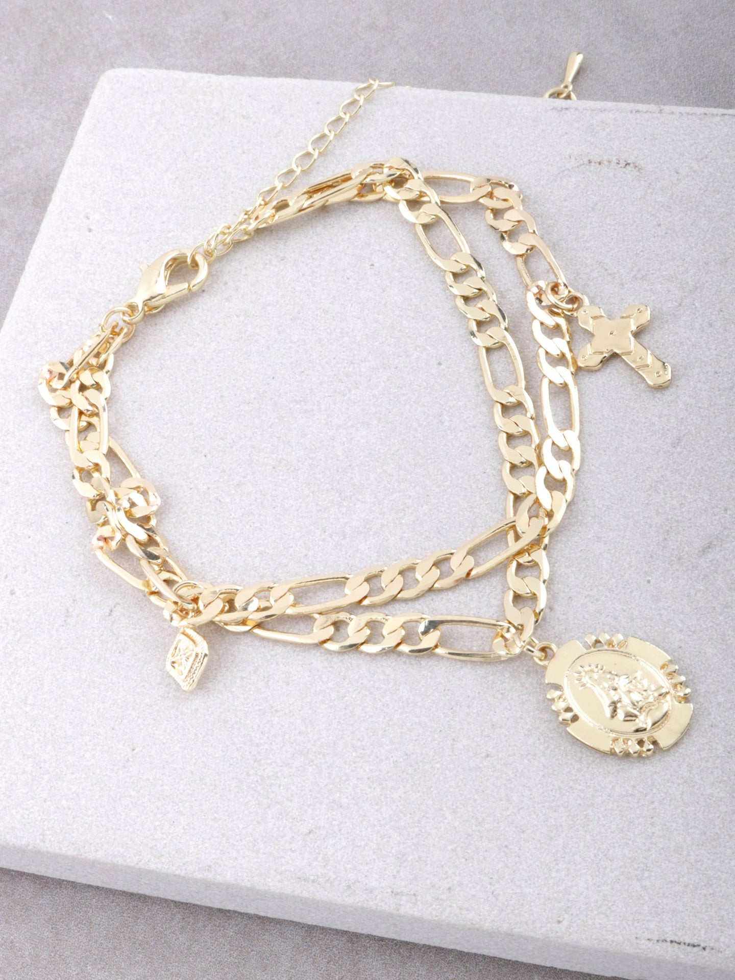 Prayer Circle Chain Bracelet Anarchy Street Gold
