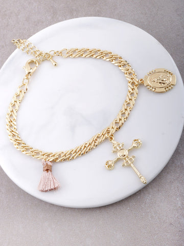 Tassel Cross Chain Bracelet Anarchy Street Gold