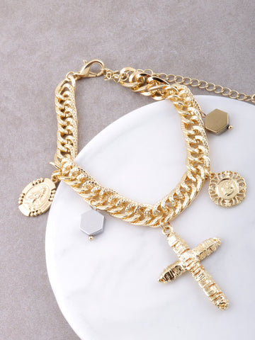 Wrap Cross Charm Bracelet Anarchy Street Gold