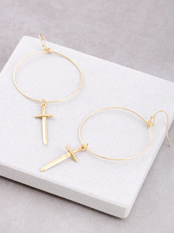 Dagger Hoop Earrings Anarchy Street Gold