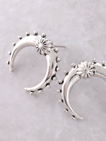 Crescent Horn Stud Earrings Anarchy Street Silver - Details