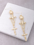 Medieval Cross Earrings Anarchy Street Gold
