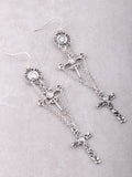 Medieval Cross Earrings Anarchy Street Silver