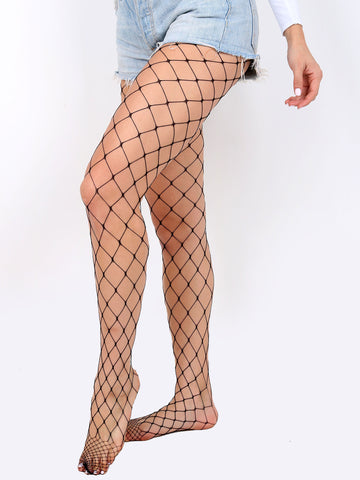 Diamond High Waist Fishnet Stocking Anarchy Street Black