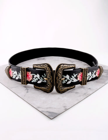 Embroidered Double Buckle Belt Anarchy Street Black