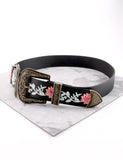 Embroidered Double Buckle Belt Anarchy Street Black - Details