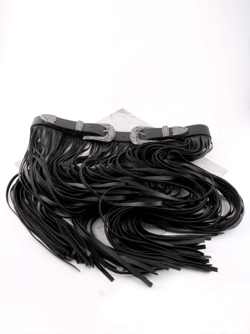 Double Buckle Fringe Belt Anarchy Street Black