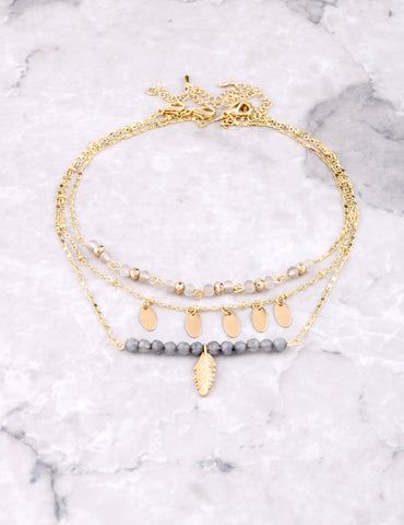 Fairy Beaded Choker Anarchy Street Gray