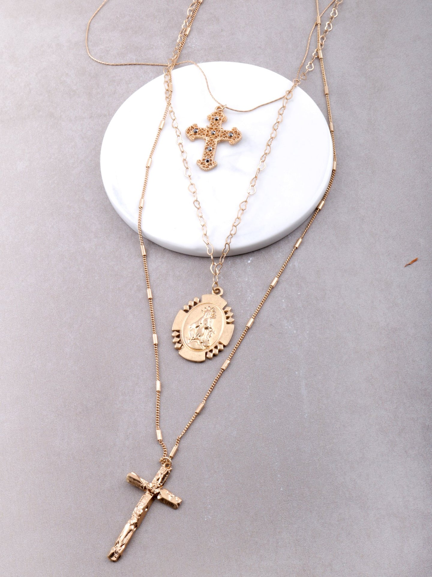 Baroque Layered Rosary Necklace Anarchy Street Gold