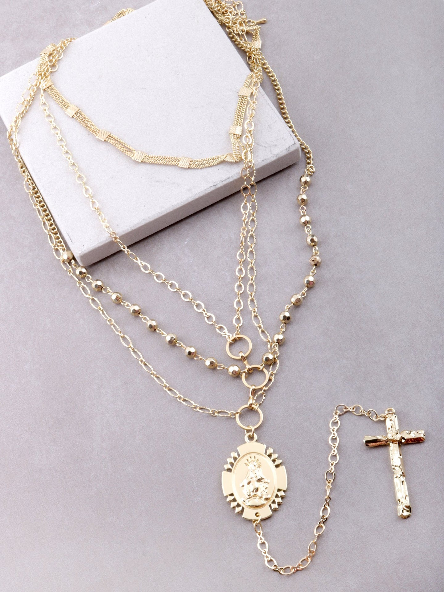Multi Layered Cross Drop Necklace Anarchy Street Gold