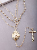 Multi Layered Cross Drop Necklace Anarchy Street Gold - Details
