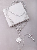 Multi Layered Cross Drop Necklace Anarchy Street Silver