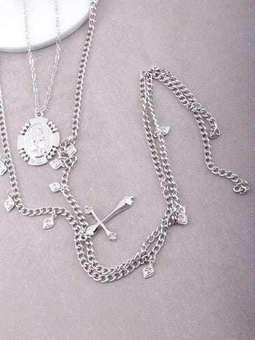 Saint Charm Layered Necklace Anarchy Street Silver - Details
