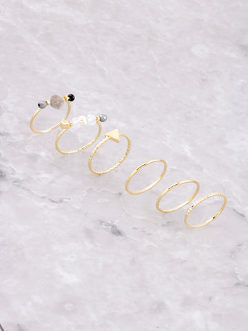 Beaded Dainty Ring Set Anarchy Street Gold