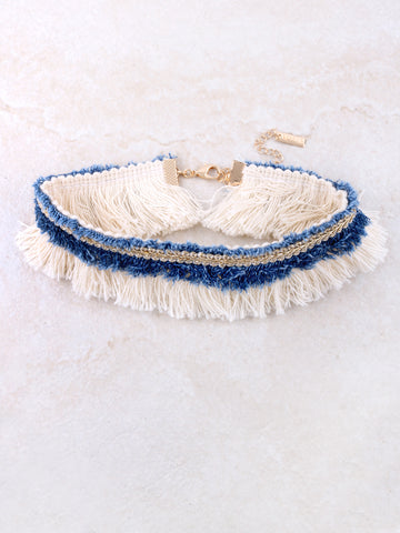 Denim Frayed Choker Anarchy Street Gold