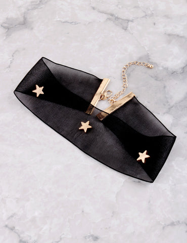 Star Studded Mesh Choker Anarchy Street Black