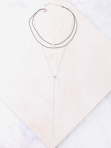 Diamante Layered Choker Anarchy Street Silver