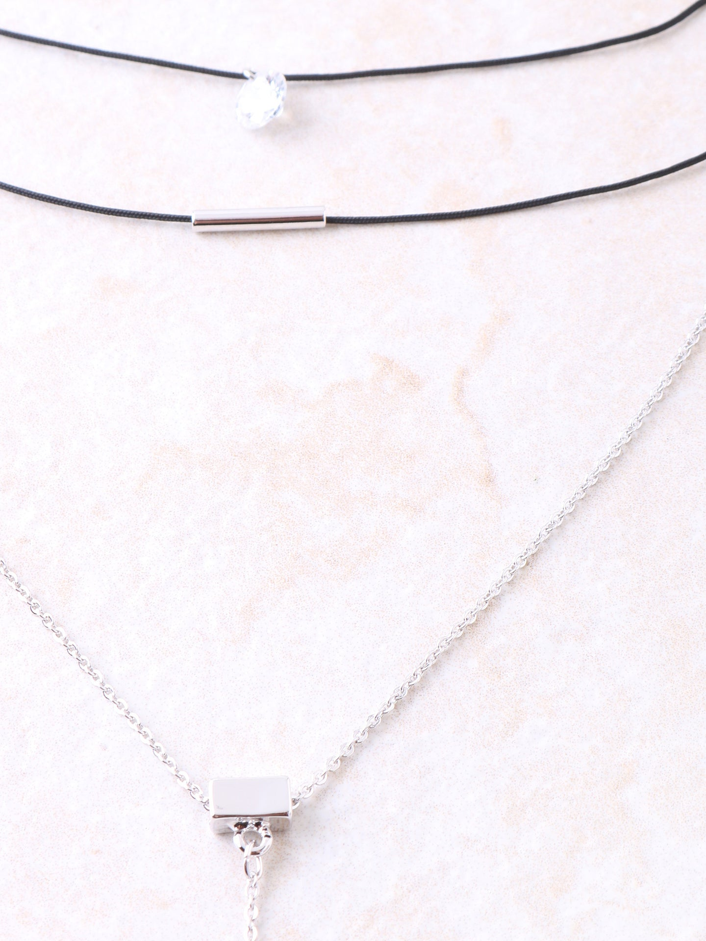 Diamante Layered Choker Anarchy Street Silver - Details
