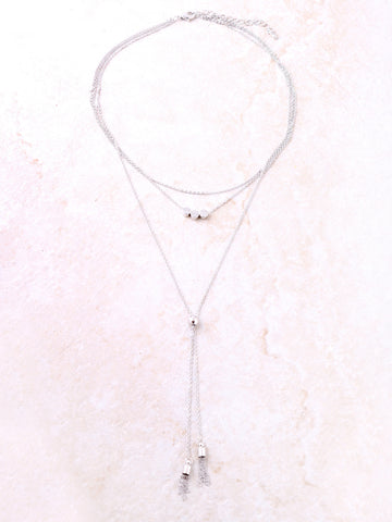 Button Tassel Layered Choker Anarchy Street Silver