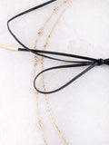 Leather Detailed Bow Choker Anarchy Street Black - Details
