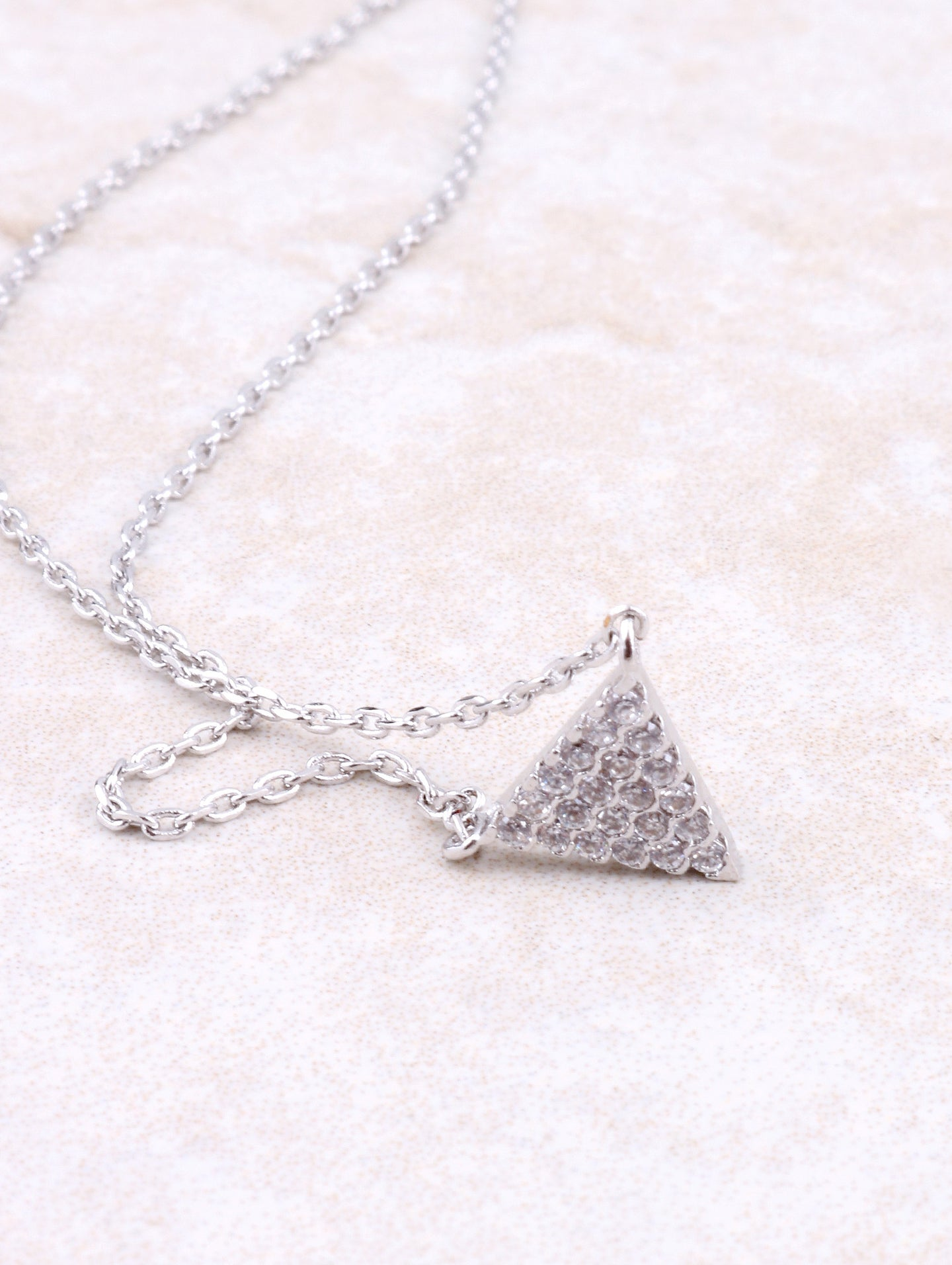 Pave Triangle Necklace Anarchy Street Silver