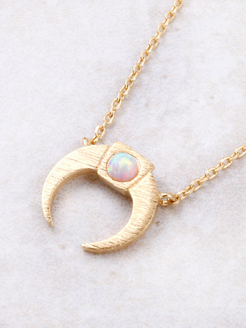 Crescent Opal Pendant Necklace