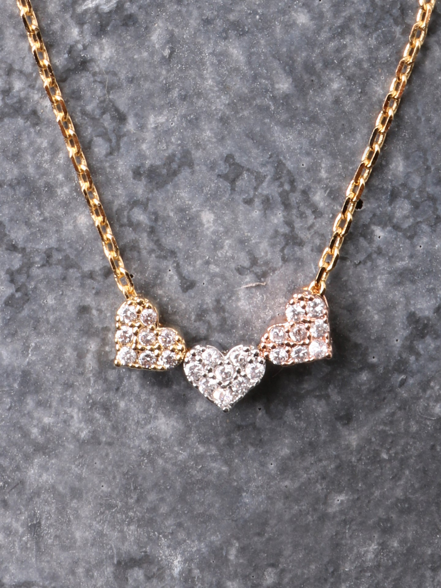 Three Hearts Necklace Anarchy Street Gold