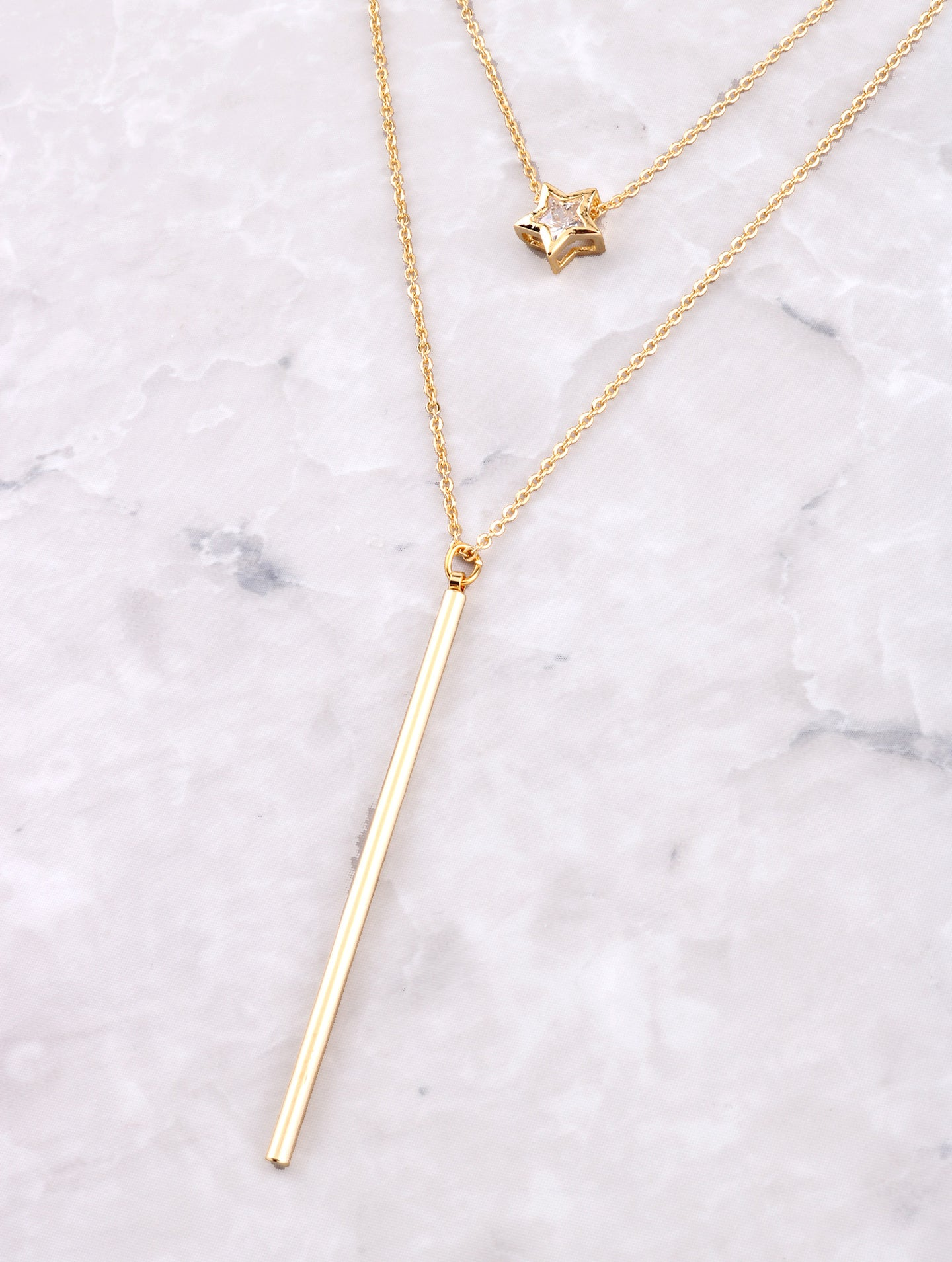 Double Lariat Necklace Anarchy Street Gold - Details