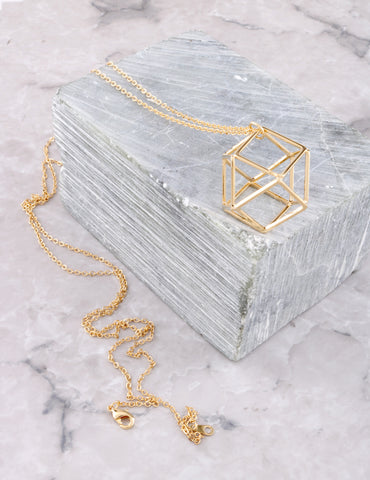Cage Pendant Necklace Anarchy Street Gold