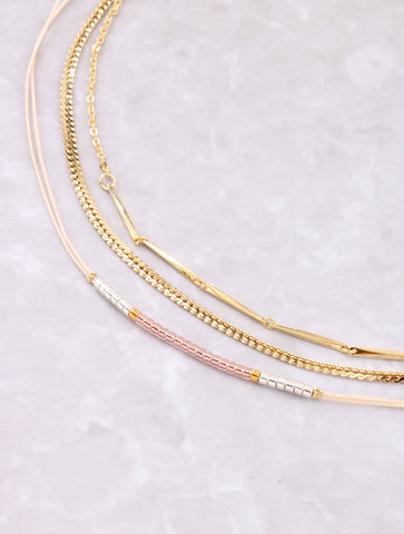 Three Toned Dainty Choker Set Anarchy Street Pink - Details