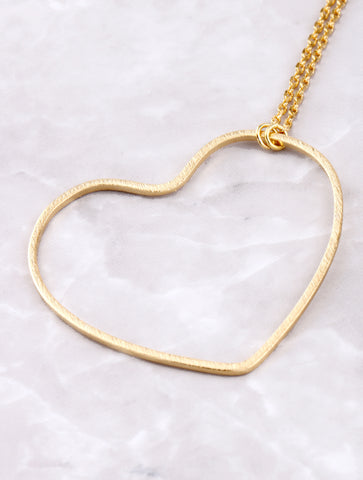 Open Heart Pendant Necklace Anarchy Street Gold - Details