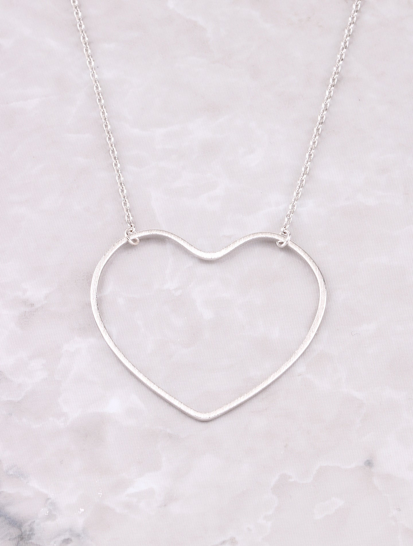 Open Heart Pendant Necklace Anarchy Street Silver