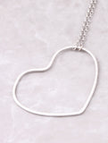 Open Heart Pendant Necklace Anarchy Street Silver - Details