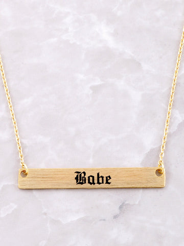Babe Tattoo Plate Necklace Anarchy Street Gold - Details