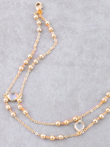 Opulent Stone Double Bead Choker Anarchy Street Gold - Details