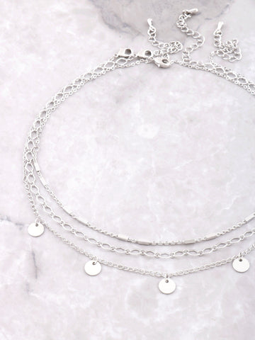 Hanging Disks Layered Choker Anarchy Street Silver