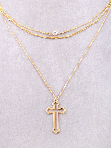 Hollow Cross Layered Choker Anarchy Street Gold