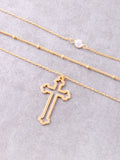Hollow Cross Layered Choker Anarchy Street Gold - Details