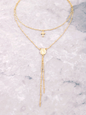 Dainty Cross Medallion Choker Anarchy Street Gold - Details