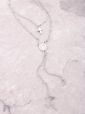 Dainty Cross Medallion Choker Anarchy Street Silver