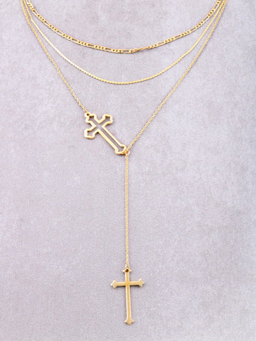 Intersecting Crosses Layered Choker Anarchy Street Gold