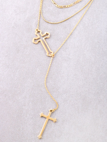 Intersecting Crosses Layered Choker Anarchy Street Gold - Details