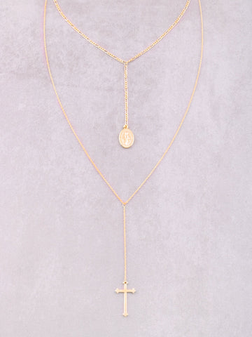 Hanging Cross Layered Necklace Anarchy Street Gold